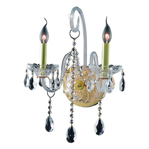 Verona Gold Two-Light Sconce with Clear Royal Cut Crystals