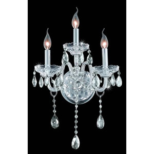 Verona Chrome Three-Light Sconce with Clear Royal Cut Crystals