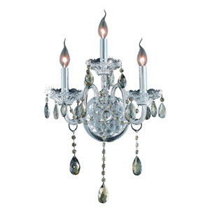 Verona Chrome Three-Light Sconce with Golden Teak/Smoky Royal Cut Crystals