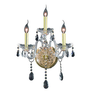 Verona Gold Three-Light Sconce with Clear Royal Cut Crystals