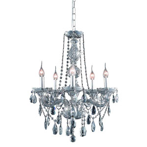 Verona Silver Shade Five-Light Chandelier with Royal Cut Crystals