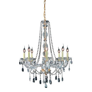 Verona Gold Eight-Light Chandelier with Clear Royal Cut Crystals