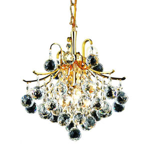 Toureg Gold Three-Light 12-Inch Pendant with Royal Cut Clear Crystal