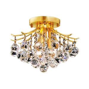 Toureg Gold Three-Light 12-Inch Flush Mount with Royal Cut Clear Crystal