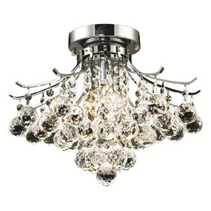 Toureg Chrome Three-Light 16-Inch Flush Mount with Royal Cut Clear Crystal