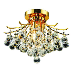 Toureg Gold Three-Light 16-Inch Flush Mount with Royal Cut Clear Crystal