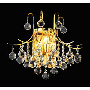 Toureg Gold Three-Light 16-Inch Wall Sconce with Royal Cut Clear Crystal