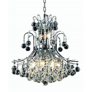 Toureg Chrome Ten-Light 19-Inch Chandelier with Royal Cut Clear Crystal