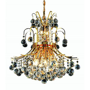 Toureg Gold Ten-Light 19-Inch Chandelier with Royal Cut Clear Crystal
