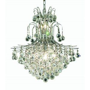 Toureg Chrome Eleven-Light 22-Inch Chandelier with Royal Cut Clear Crystal