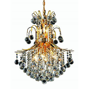 Toureg Gold Eleven-Light 22-Inch Chandelier with Royal Cut Clear Crystal