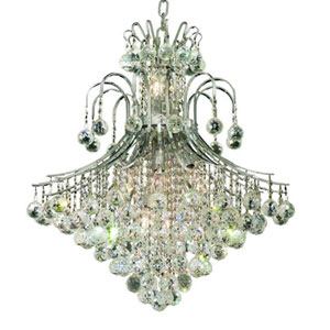 Toureg Chrome Fifteen-Light 25-Inch Chandelier with Royal Cut Clear Crystal