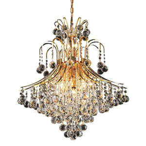 Toureg Gold Fifteen-Light 25-Inch Chandelier with Royal Cut Clear Crystal