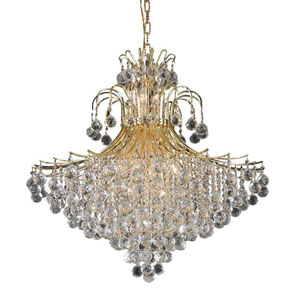 Toureg Gold Fifteen-Light 31-Inch Chandelier with Royal Cut Clear Crystal