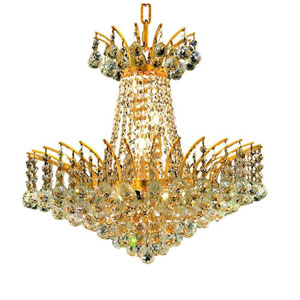 Victoria Gold Eight-Light Chandelier with Clear Royal Cut Crystals