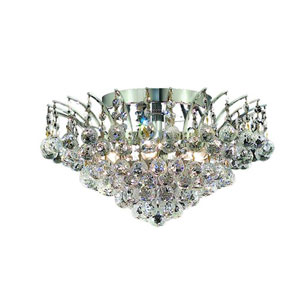 Victoria Chrome Six-Light Flush Mount with Clear Royal Cut Crystals