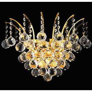 Victoria Gold Three-Light Sconce with Clear Royal Cut Crystals