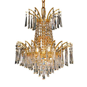 Victoria Gold Four-Light Chandelier with Clear Royal Cut Crystals