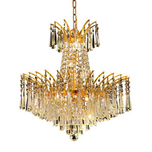 Victoria Gold Eight-Light Chandelier with Clear Spectra Swarovski Crystals