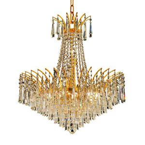 Victoria Gold Eleven-Light Chandelier with Clear Spectra Swarovski Crystals