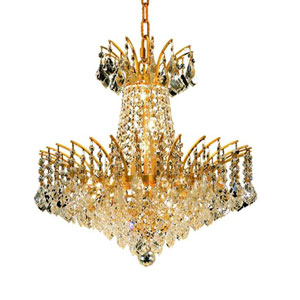 Victoria Gold Eight-Light Chandelier with Clear Elegant Cut Crystals