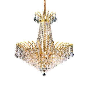 Victoria Gold Eleven-Light Chandelier with Clear Royal Cut Crystals