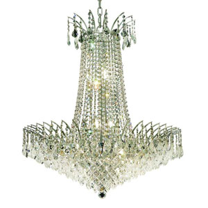 Victoria Chrome Sixteen-Light Chandelier with Clear Royal Cut Crystals