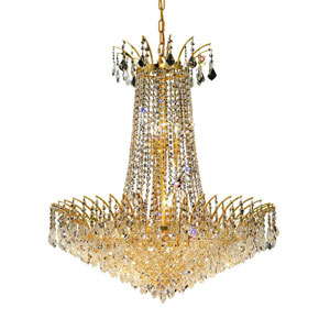 Victoria Gold Sixteen-Light Chandelier with Clear Royal Cut Crystals