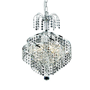 Spiral Chrome Three-Light 14-Inch Pendant with Royal Cut Clear Crystal