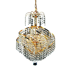 Spiral Gold Three-Light 14-Inch Pendant with Royal Cut Clear Crystal