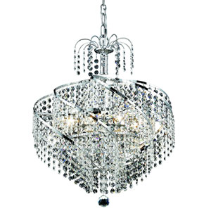 Spiral Chrome Eight-Light 18-Inch Pendant with Royal Cut Clear Crystal