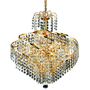 Spiral Gold Eight-Light 18-Inch Pendant with Royal Cut Clear Crystal