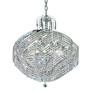 Spiral Chrome Fifteen-Light 26-Inch Pendant with Royal Cut Clear Crystal