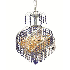 Spiral Chrome Three-Light Chandelier with Royal Cut Crystal