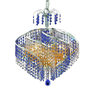 Spiral Chrome Eight-Light Chandelier with Royal Cut Crystal