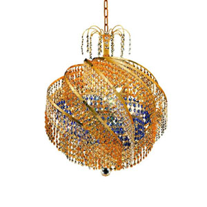 Spiral Gold 10-Light Chandelier with Royal Cut Crystal