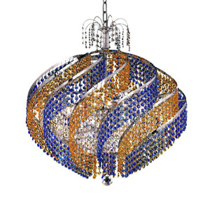 Spiral Chrome 15-Light Chandelier with Royal Cut Crystal