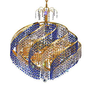 Spiral Gold 15-Light Chandelier with Royal Cut Crystal