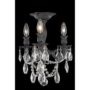 Rosalia Dark Bronze Three-Light Flush Mount with Royal Cut Crystal