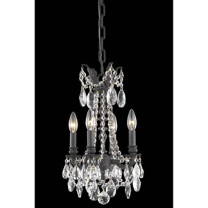 Rosalia Dark Bronze 10-Inch Four-Light Chandelier with Royal Cut Crystal