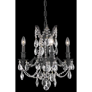 Rosalia Dark Bronze 17-Inch Four-Light Chandelier with Royal Cut Crystal