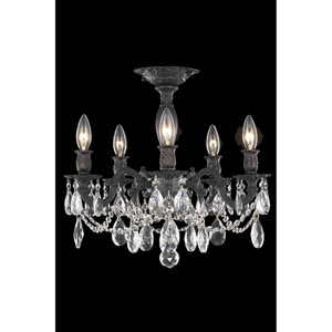 Rosalia Dark Bronze Five-Light Flush Mount with Royal Cut Crystal