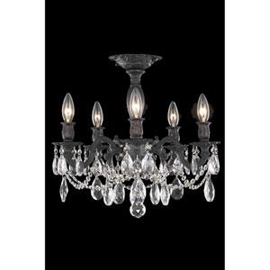 Rosalia Dark Bronze Five-Light Flush Mount with Royal Cut Crystal