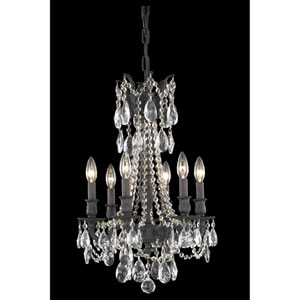 Rosalia Dark Bronze 16-Inch Six-Light Chandelier with Royal Cut Crystal