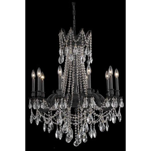 Rosalia Dark Bronze 10-Light Chandelier with Royal Cut Crystal