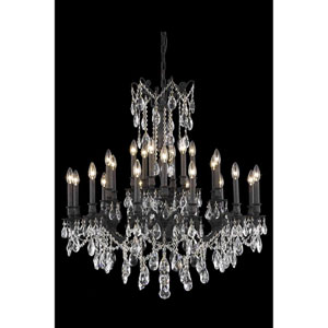 Rosalia Dark Bronze 24-Light Chandelier with Royal Cut Crystal