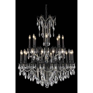 Rosalia Dark Bronze 24-Light Chandelier with Elegant Cut Crystal