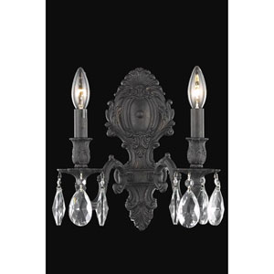 Monarch Dark Bronze Two-Light Wall Sconce with Royal Cut Crystal
