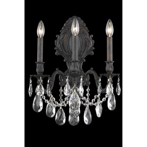 Monarch Dark Bronze Three-Light Wall Sconce with Royal Cut Crystal