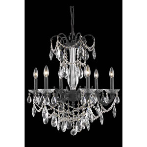 Athena Dark Bronze Six-Light Chandelier with Clear Royal Cut Crystal